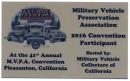 Data Plate *2016 MVPA Convention, Pleasanton, CA